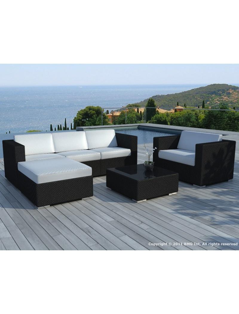 Salon De Jardin Copacabana Résine Tressée Noire Coussins Blancs concernant Table De Jardin Résine Tressée