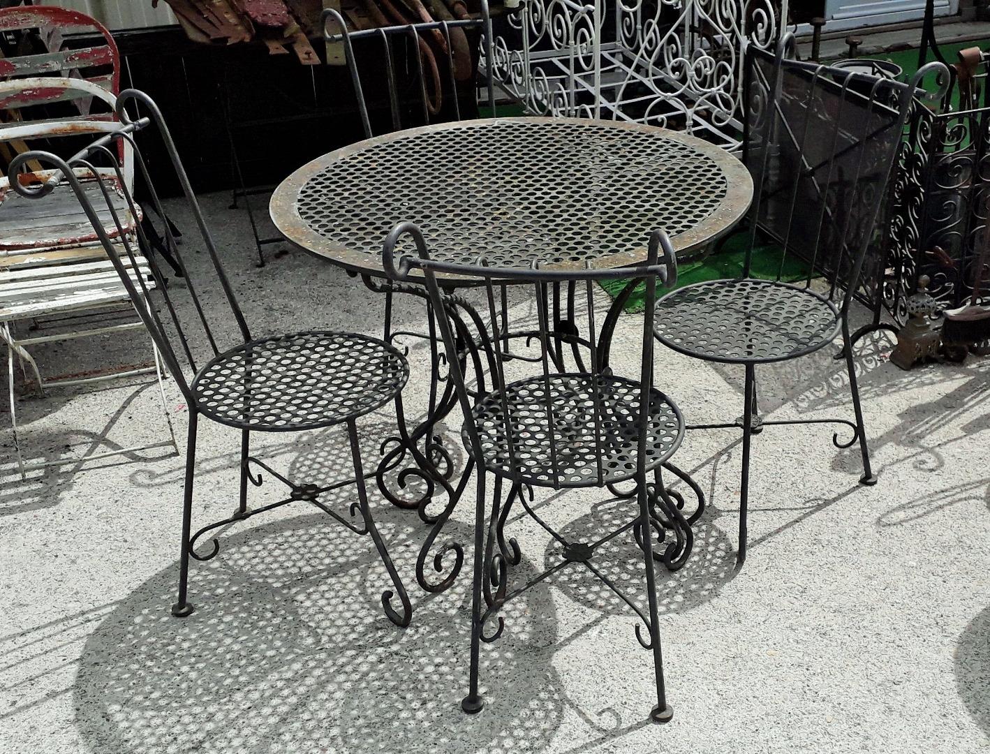 Salon De Jardin En Fer Forgé Table 4 Chaises Année 80 concernant Table Jardin Marbre Fer Forgé
