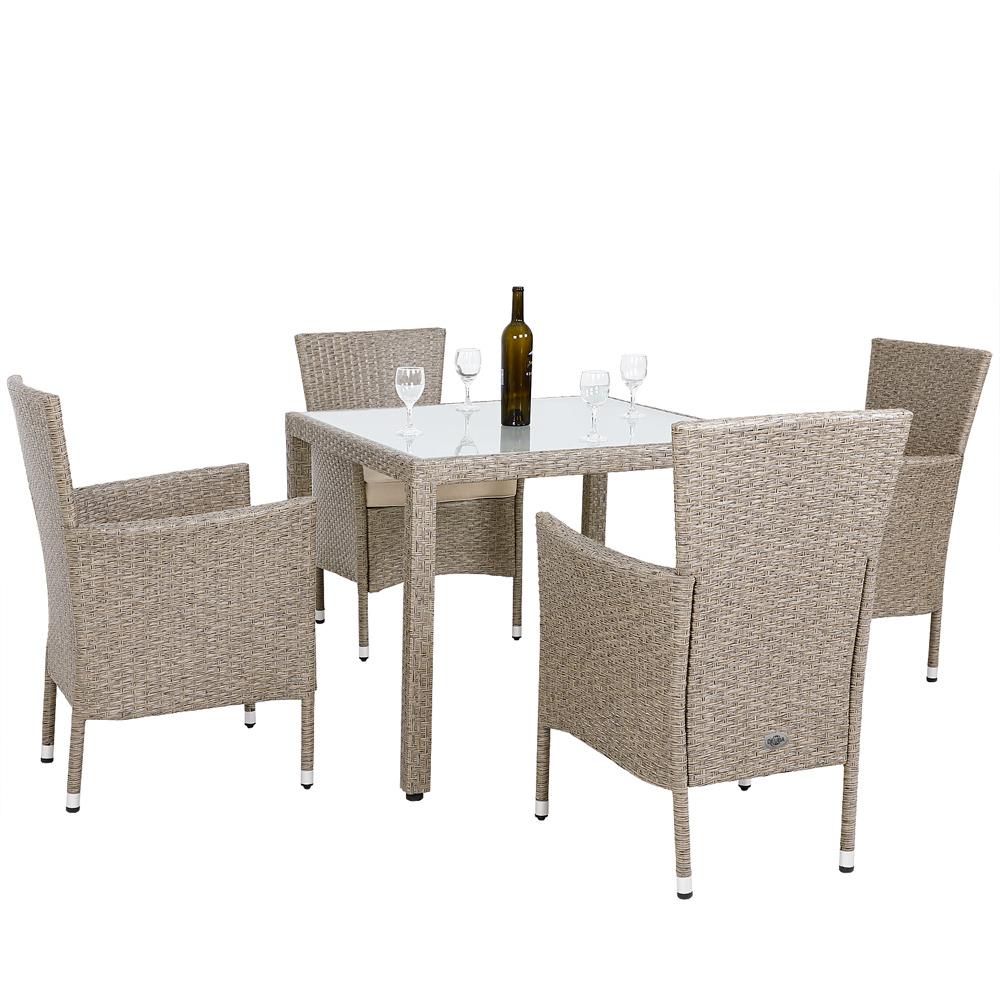 Salon De Jardin En Polyrotin Gris/beige • 1 Table Et 4 ... destiné Sallon Jardin
