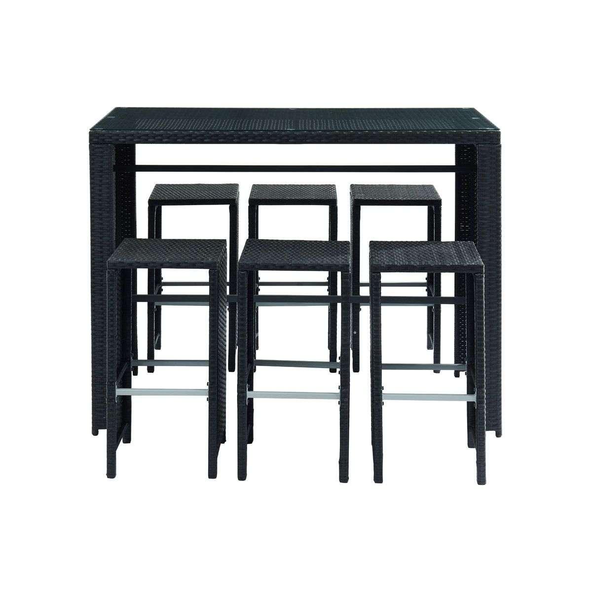 Salon De Jardin En Résine Tressée Noire Avec Table Et 6 Chaises Hautes  Cancun intérieur Table Jardin Noire