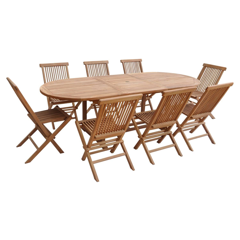 Salon De Jardin Extensible En Teck 8 Places, Ovale - Happy ... avec Housse De Table De Jardin Ovale