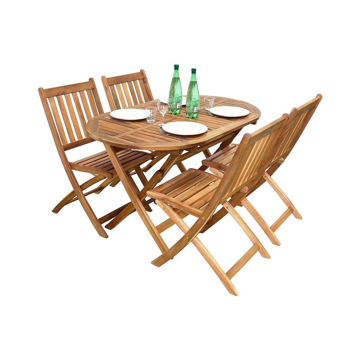Salon De Jardin Ovale Fidgi En Acacia 4 Places - Achat/vente ... destiné Housse De Table De Jardin Ovale
