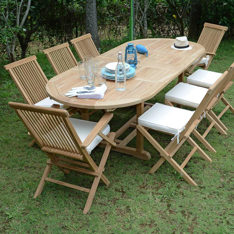 Salon De Jardin Teck Ecograde Bora-Bora, 6 Chaises Et 2 ... tout Housse De Table De Jardin Ovale