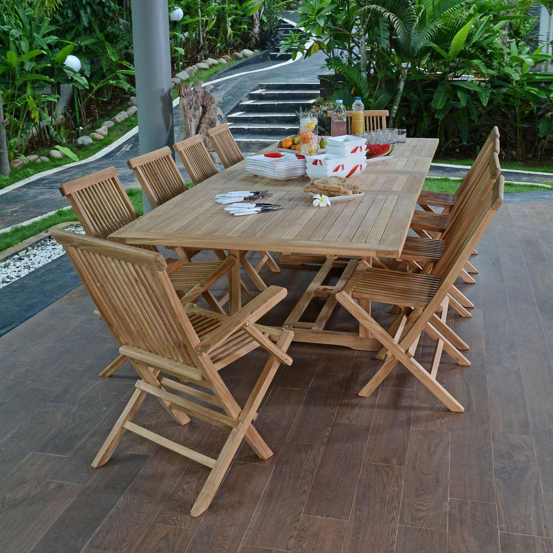 Salon De Jardin Teck Ecograde Bueno-Aires, 8 Chaises Et 2 ... avec Salon De Jardin Teck Solde