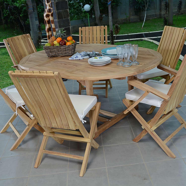 Salon De Jardin Teck Ecograde Santiago, 4 Chaises Et 2 Fauteuils tout Salon De Jardin Teck Solde