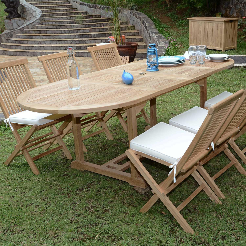 Salon De Jardin Teck Ecograde Tanao, 6 Chaises serapportantà Housse De Table De Jardin Ovale