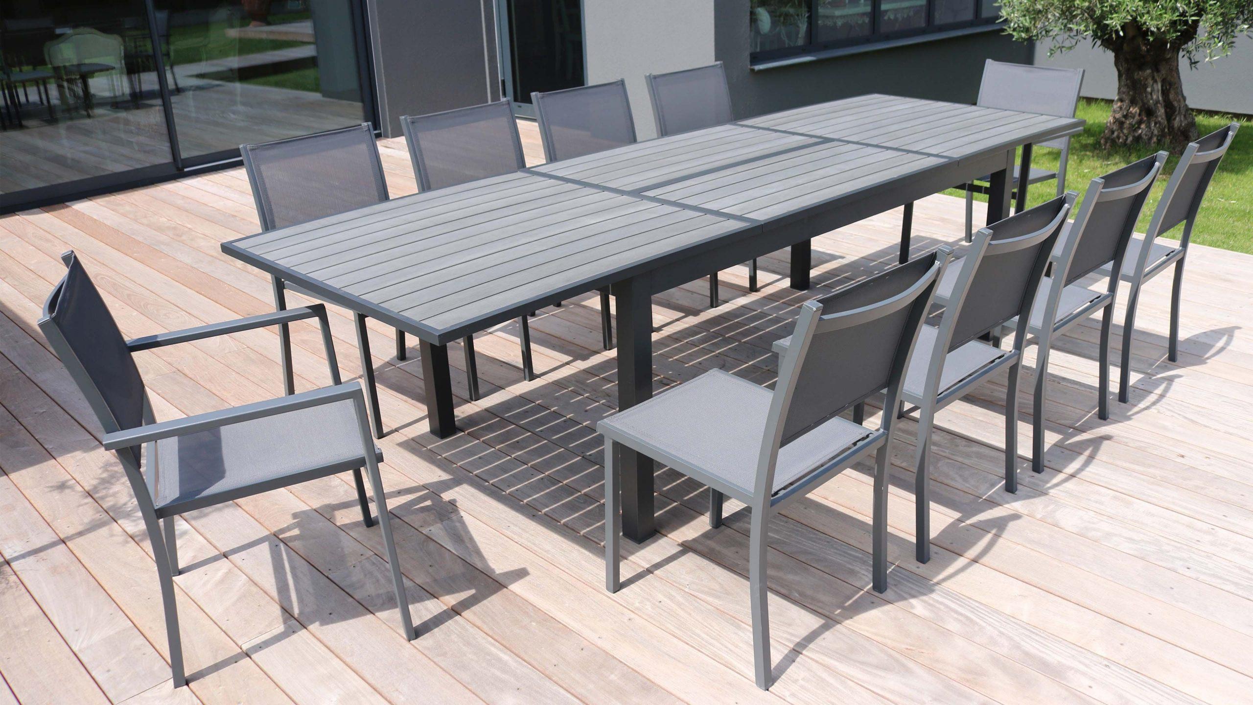 Salon Table De Jardin Extensible 10 Places tout Salon De Jardin Aluminium 10 Personnes