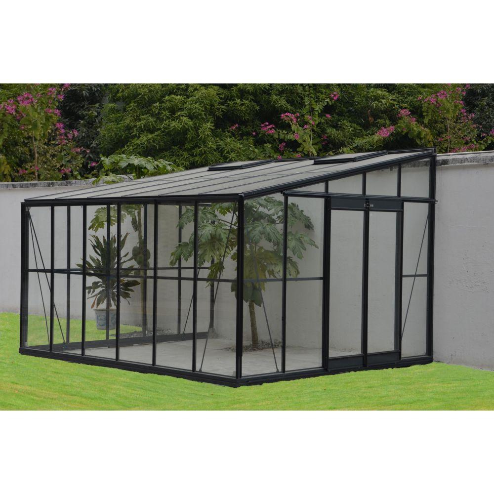Serre Adossée En Verre Trempé Solarium Grise 11.85 M² - Châlet-Jardin destiné Serre Adossée