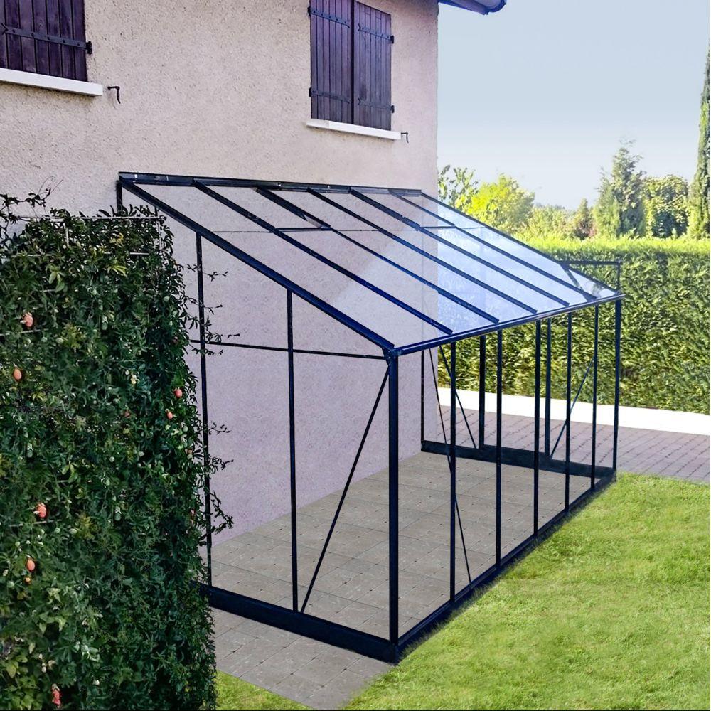 Serre Adossée En Verre Trempé Solarium Grise 7.22 M² - Châlet-Jardin concernant Serre Adossée Sur Mesure