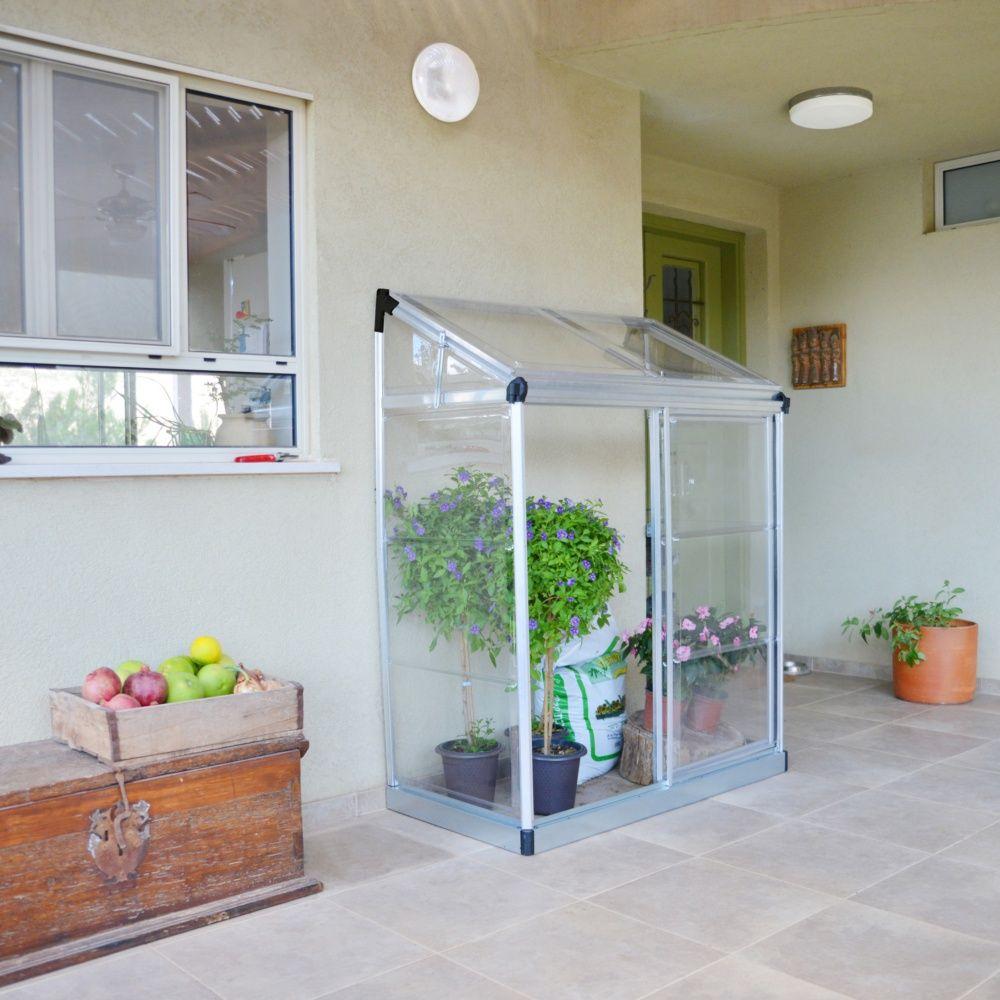 Serre De Balcon Ou Terrasse Adossée 0.75 M² Polycarbonate - Palram encequiconcerne Serre De Jardin Adossee Un Mur