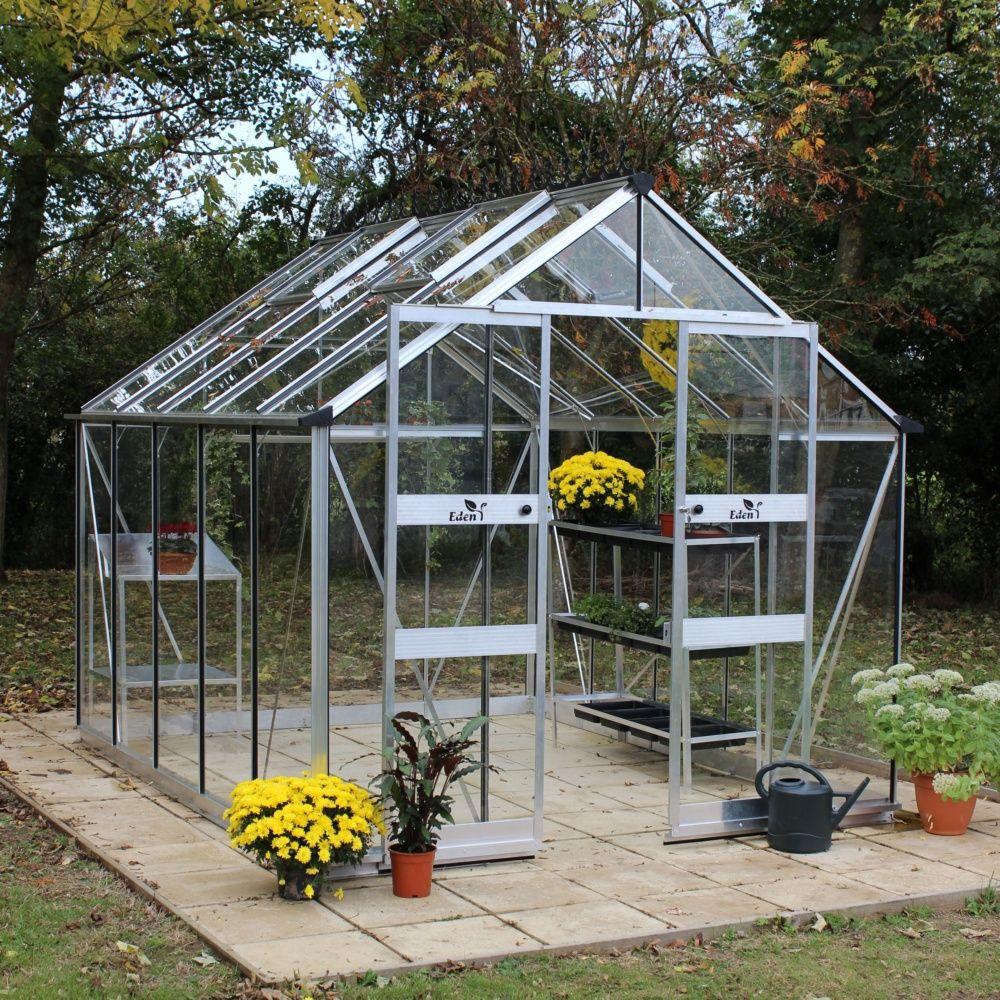 Serre De Jardin Blockey Verre Trempé 9,7 M² + Embase - Eden à Verre Pour Serre De Jardin