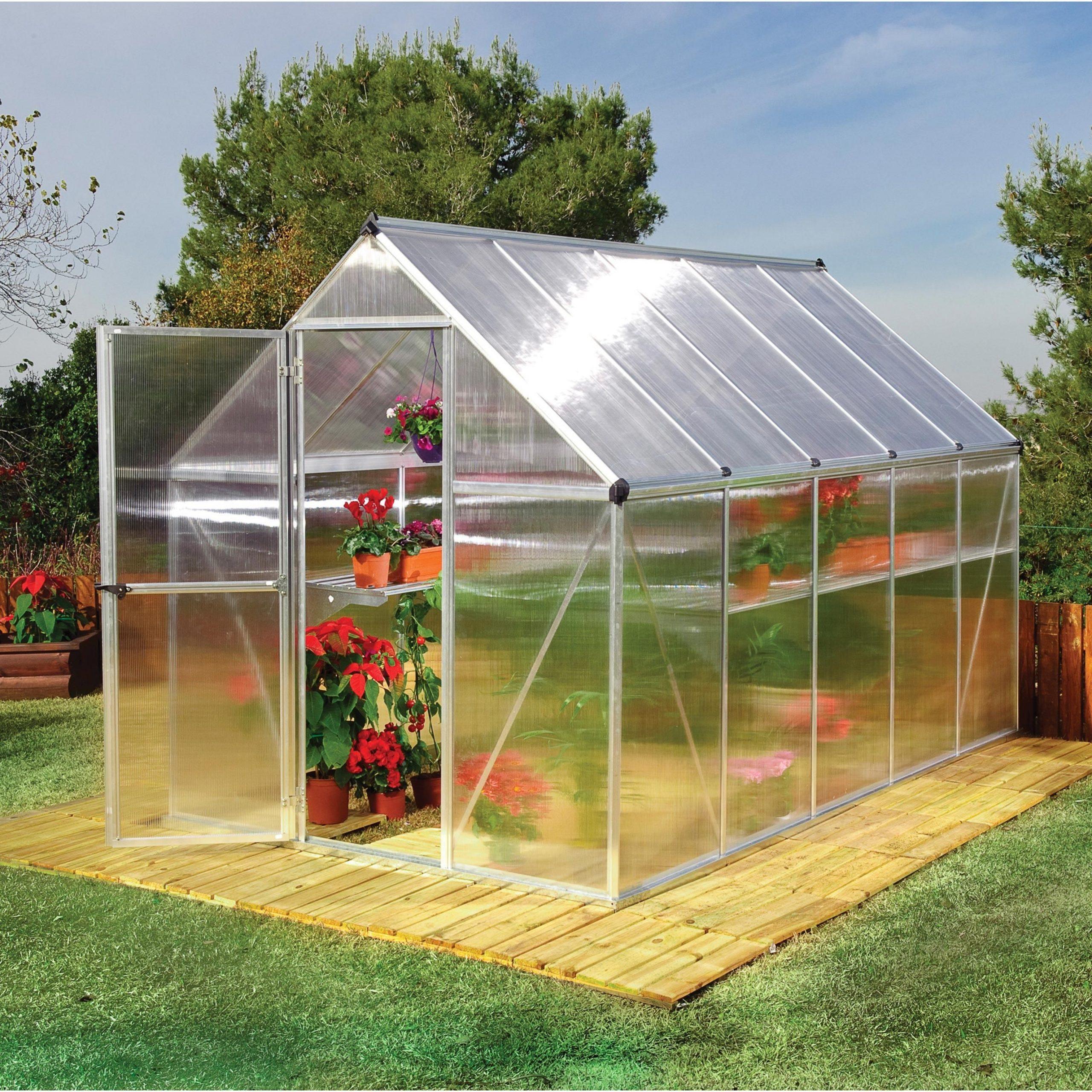 Serre De Jardin Mythos 5.6 M², Aluminium Et Polycarbonate ... pour Serre Jardin Polycarbonate