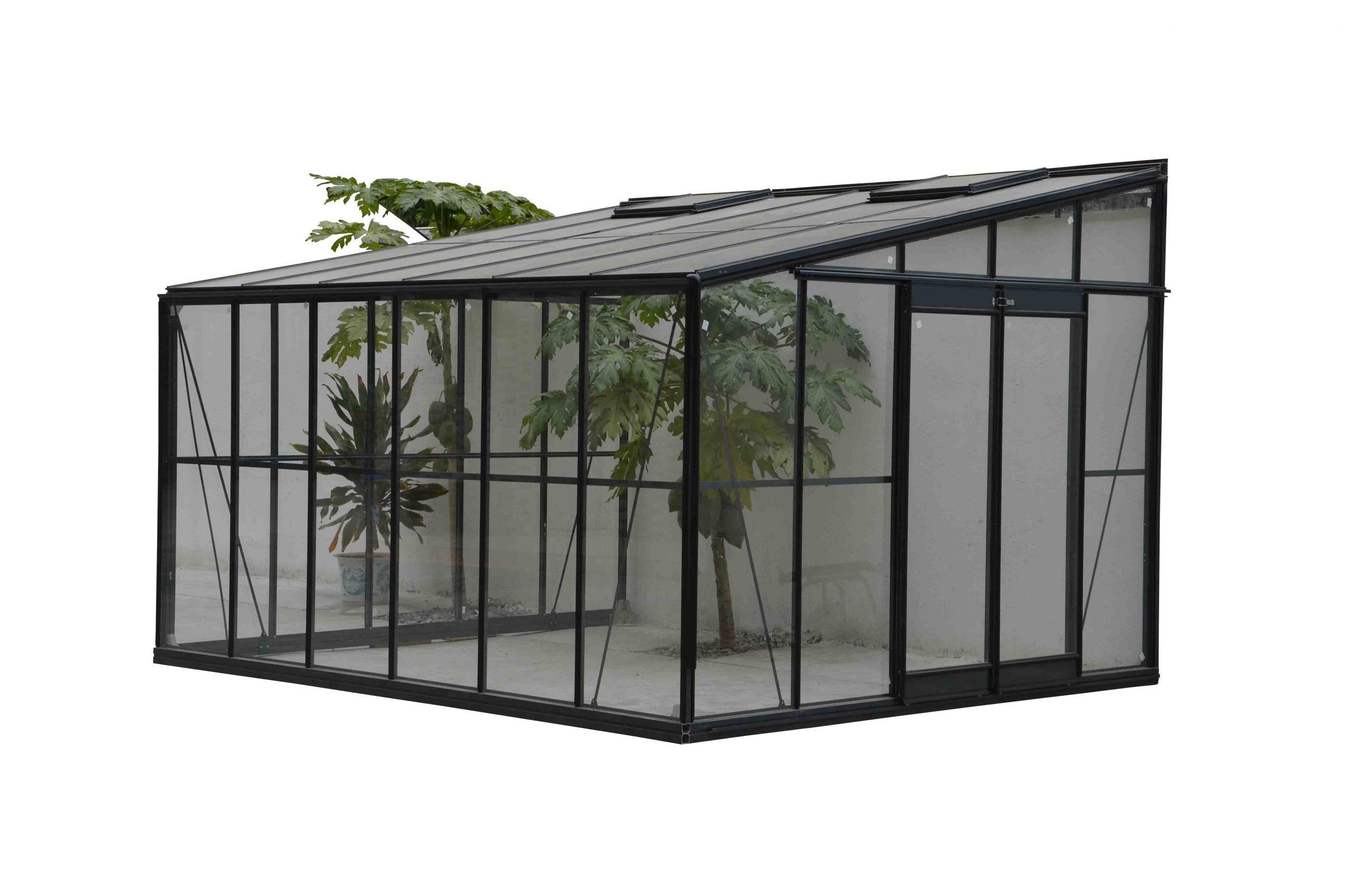 Serre Grise Jardin D'hiver 11,9M² Adossable Avec Base Serre ... avec Serre Adossable