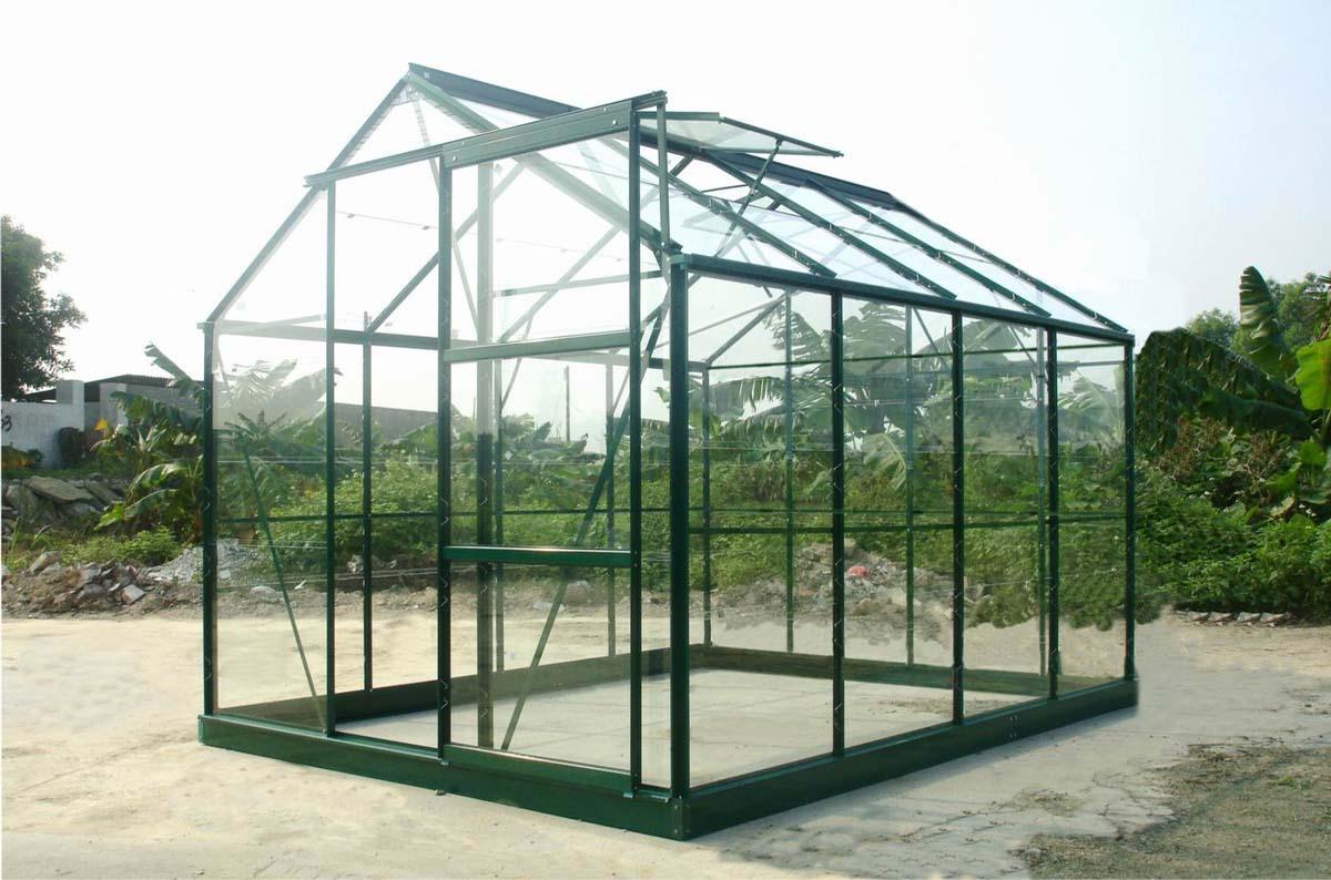 Serre Verte 86 En Verre Trempé 4.65 M² Chalet & Jardin ... concernant Serre De Jardin Polycarbonate 10M2