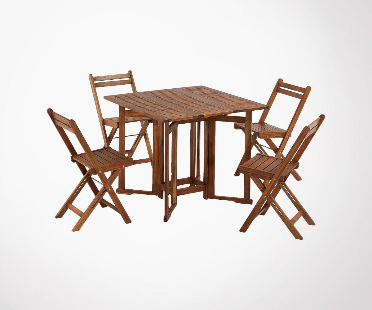 Set 4 Chaises + 1 Table De Jardin Pliable Bois Acacia ... concernant Table De Jardin En Bois Pliante