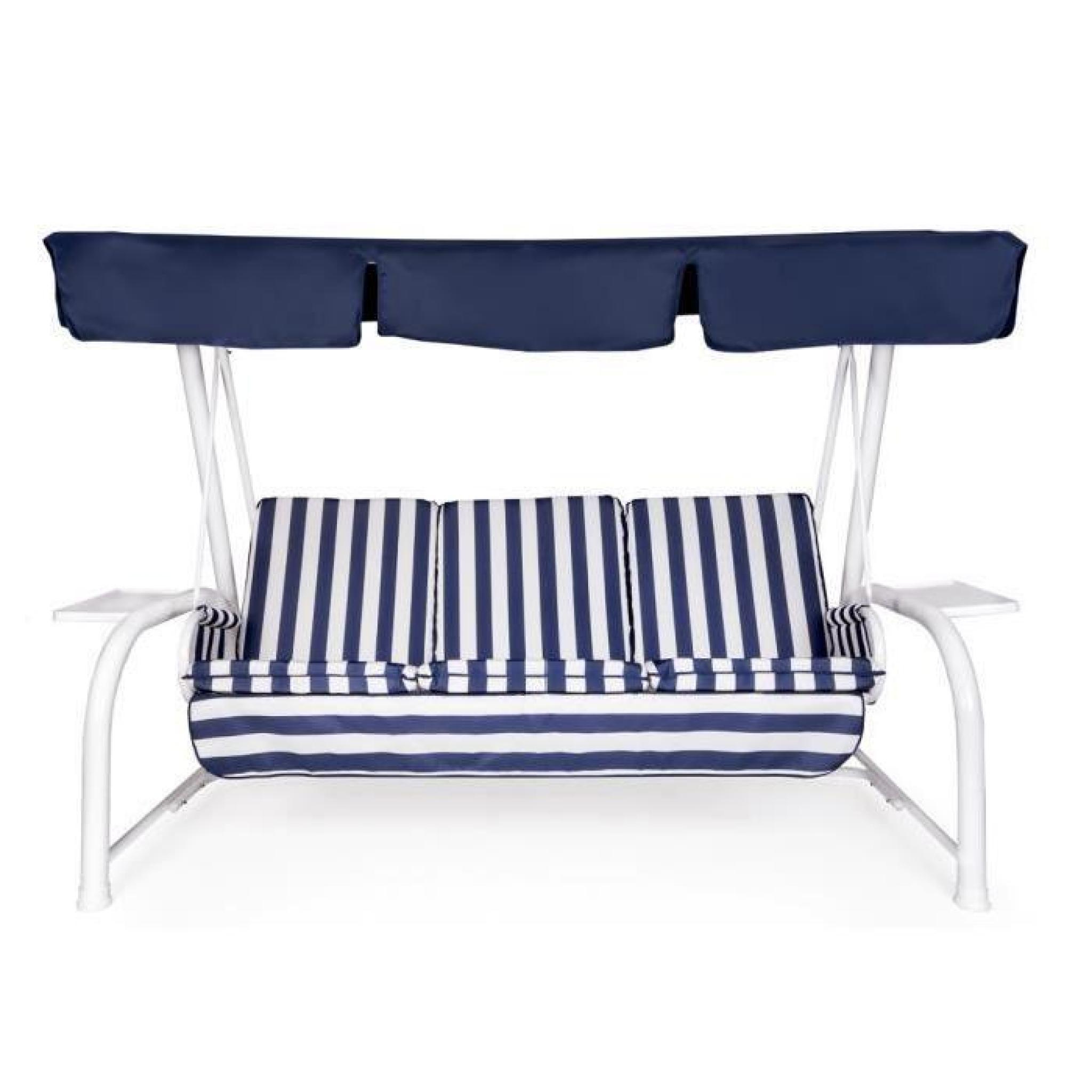 Set Coussins + Toit De Remplacement Pour Balancelle 4 Places Blanc Rayé  Bleu Toit Bleu pour Coussin Balancelle