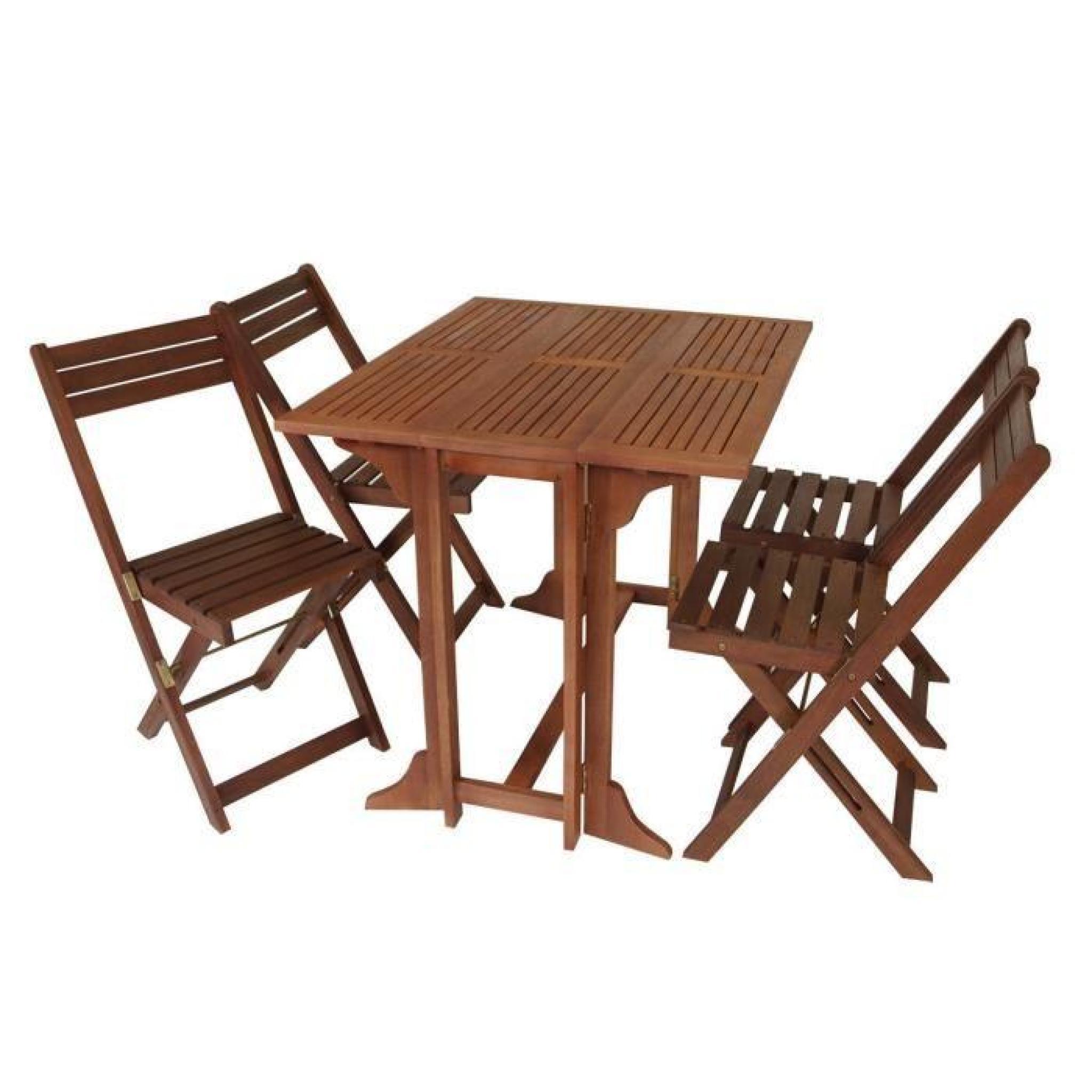 Set De Jardin/balcon 4 Chaises Pliantes 1 Table Pliante Bois D'eucalyptus  Huilé Certifié Fsc 90X75X74Cm 39X51X82Cm Pedro tout Table De Jardin En Bois Pliante