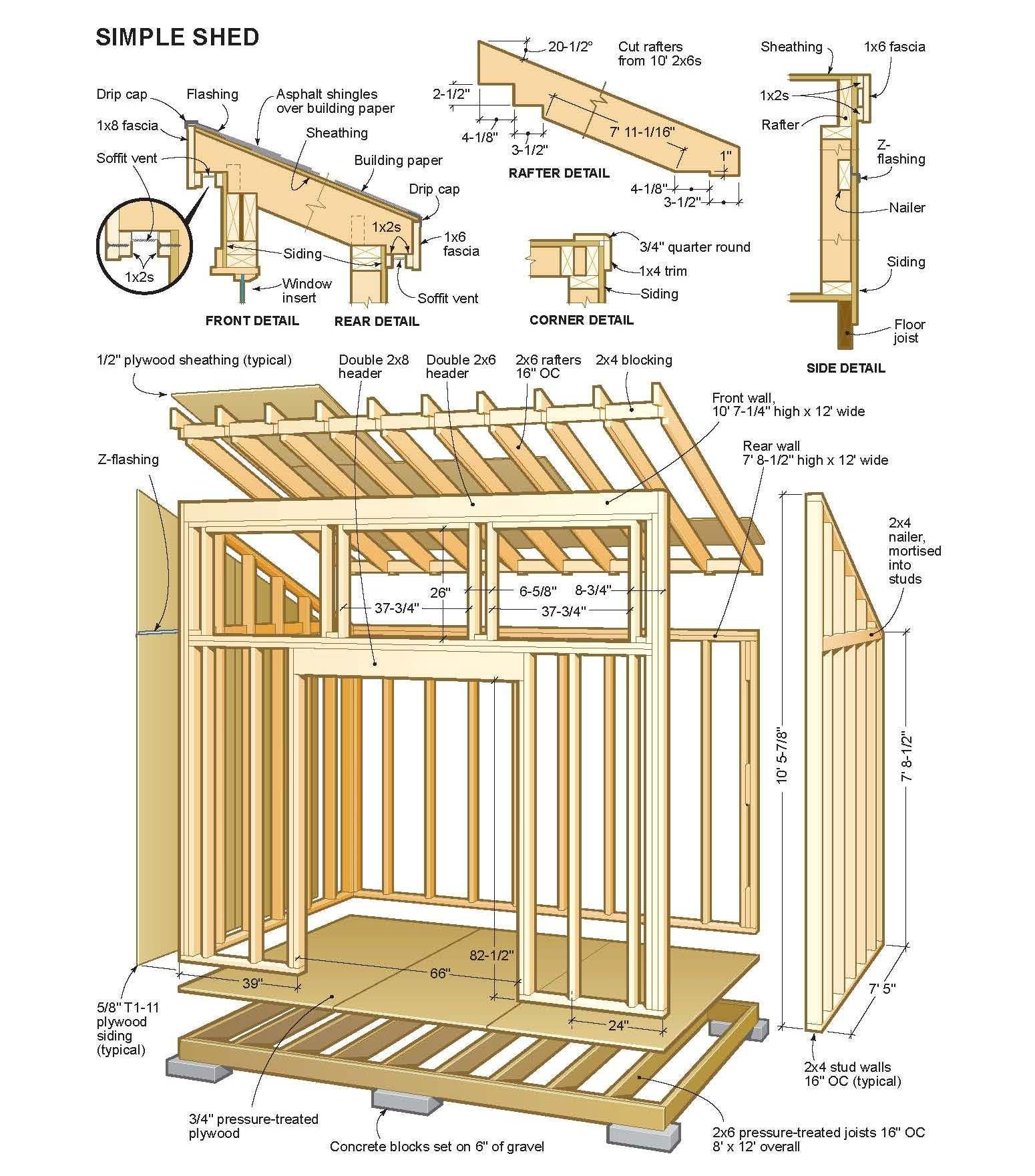 Simple Shed Plans | Furniture Building | Hangar À Bois, Abri ... concernant Hangar Jardin Bois