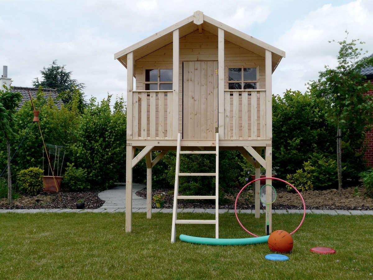 Solid Abri De Jardin Maisonnette Pour Enfants Sur Pilotis ... serapportantà Maisonnette De Jardin Enfant
