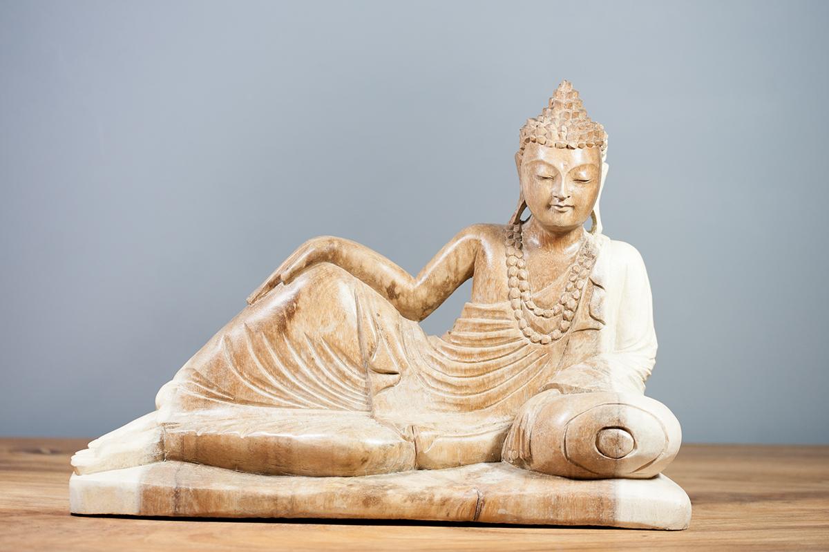 Statue Bouddha Couché En Suar 40 Cm Naturel intérieur Bouddha De Jardin Pas Cher