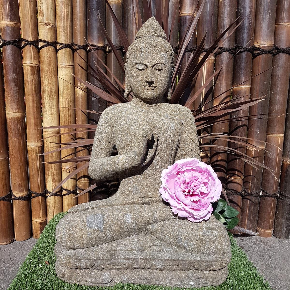 Statue Bouddha Dhyãna Mudrã En Pierre 82 Cm serapportantà Bouddha De Jardin Pas Cher