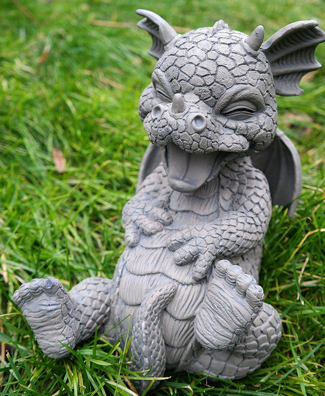Statue De Dragon Kringelt, Rire Statuette De Jardin | Dragon ... à Statuette De Jardin