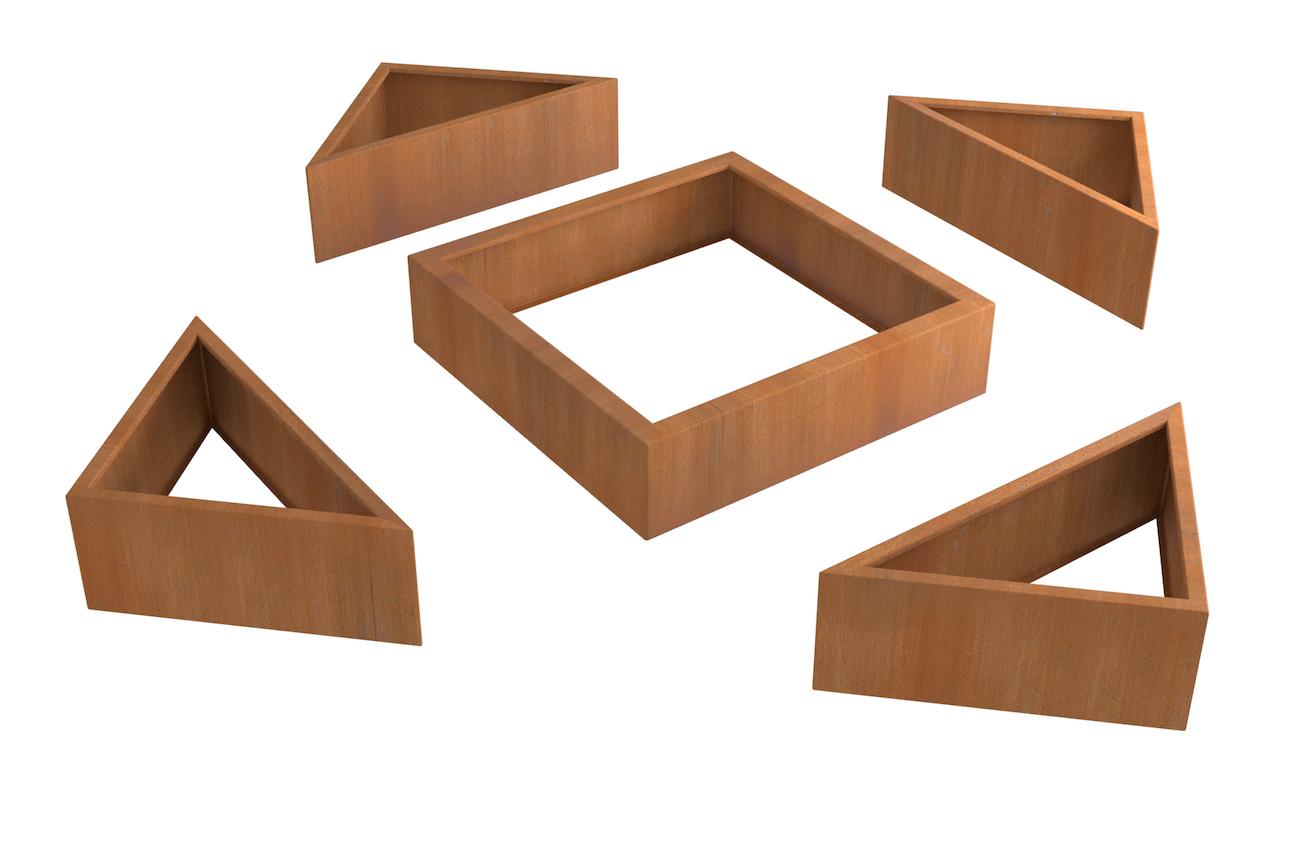 Structurer Les Espaces En Carré Potager Acier Corten ... dedans Carre Potager 150X150