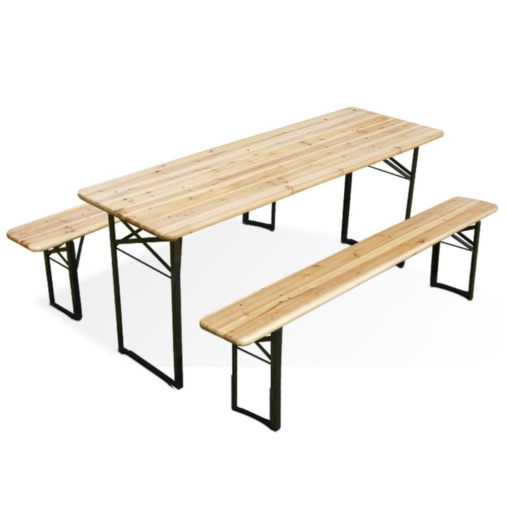 Table Avec Nappe Et Bancs En Bois à Table De Jardin En Bois Pliante