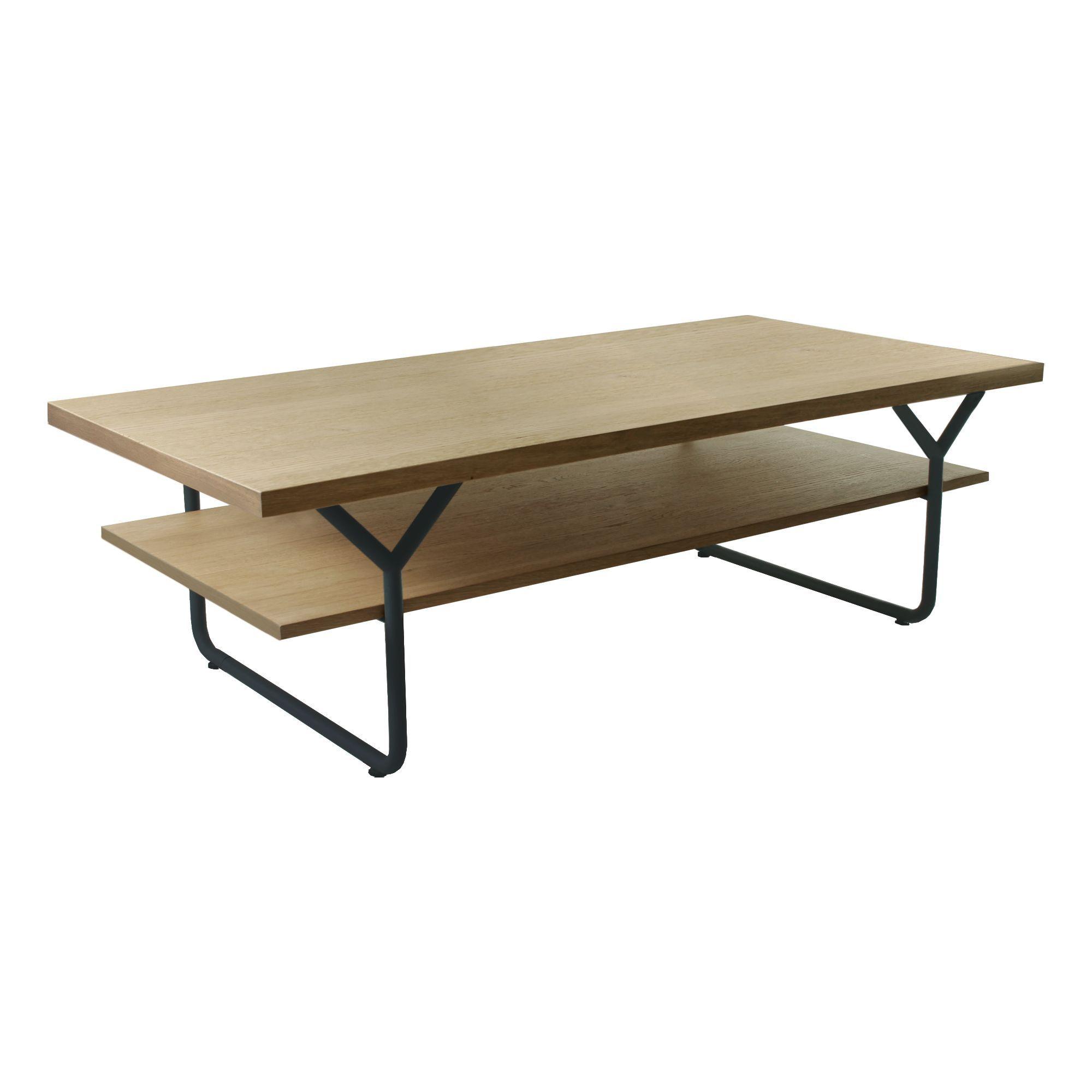 Table Basse En Acier Et Placage Chêne Chêne Naturel ... à Table Basse Alinea