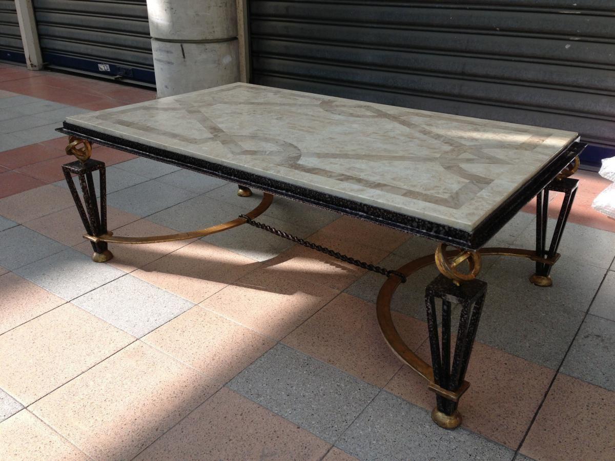 Table Basse En Fer Forgé Et Marbre, Galerie Secula, Proantic ... intérieur Table Jardin Marbre Fer Forgé
