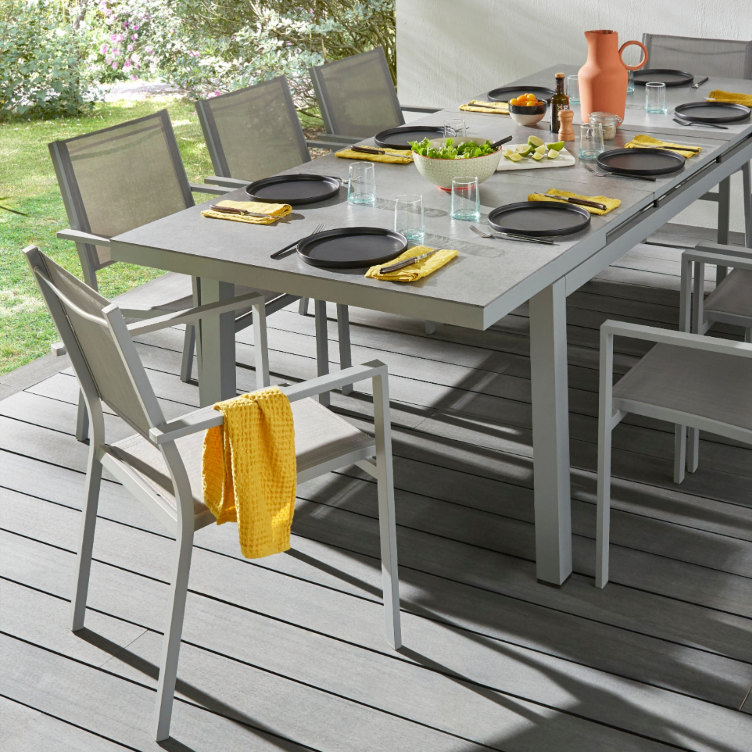 Table De Jardin Brusnik + Extension | Table De Jardin ... dedans Fontaine Jardin Castorama