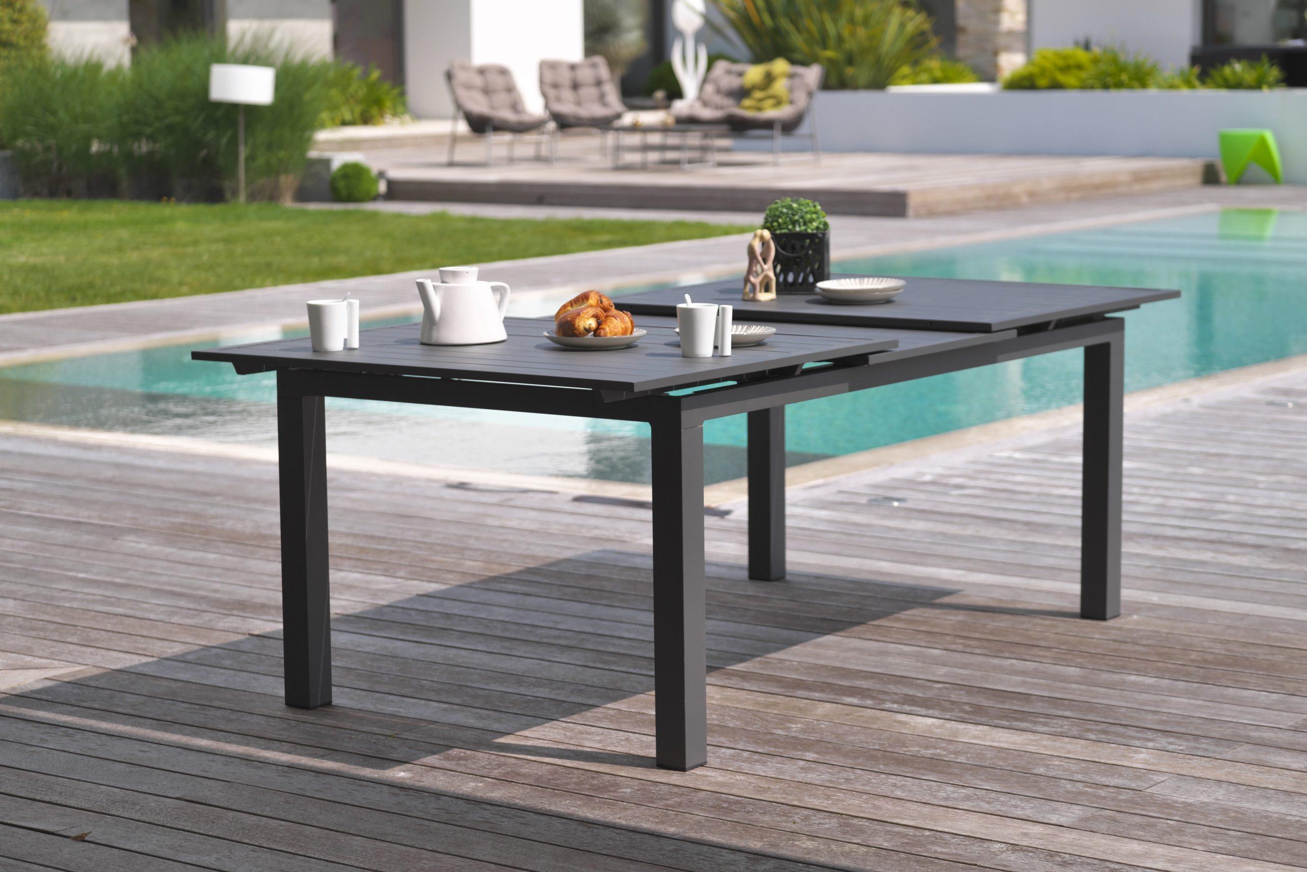 Table De Jardin De Repas Miami Rectangulaire Gris Anthracite De 6 À 10  Personnes pour Table De Jardin Leroy Merlin