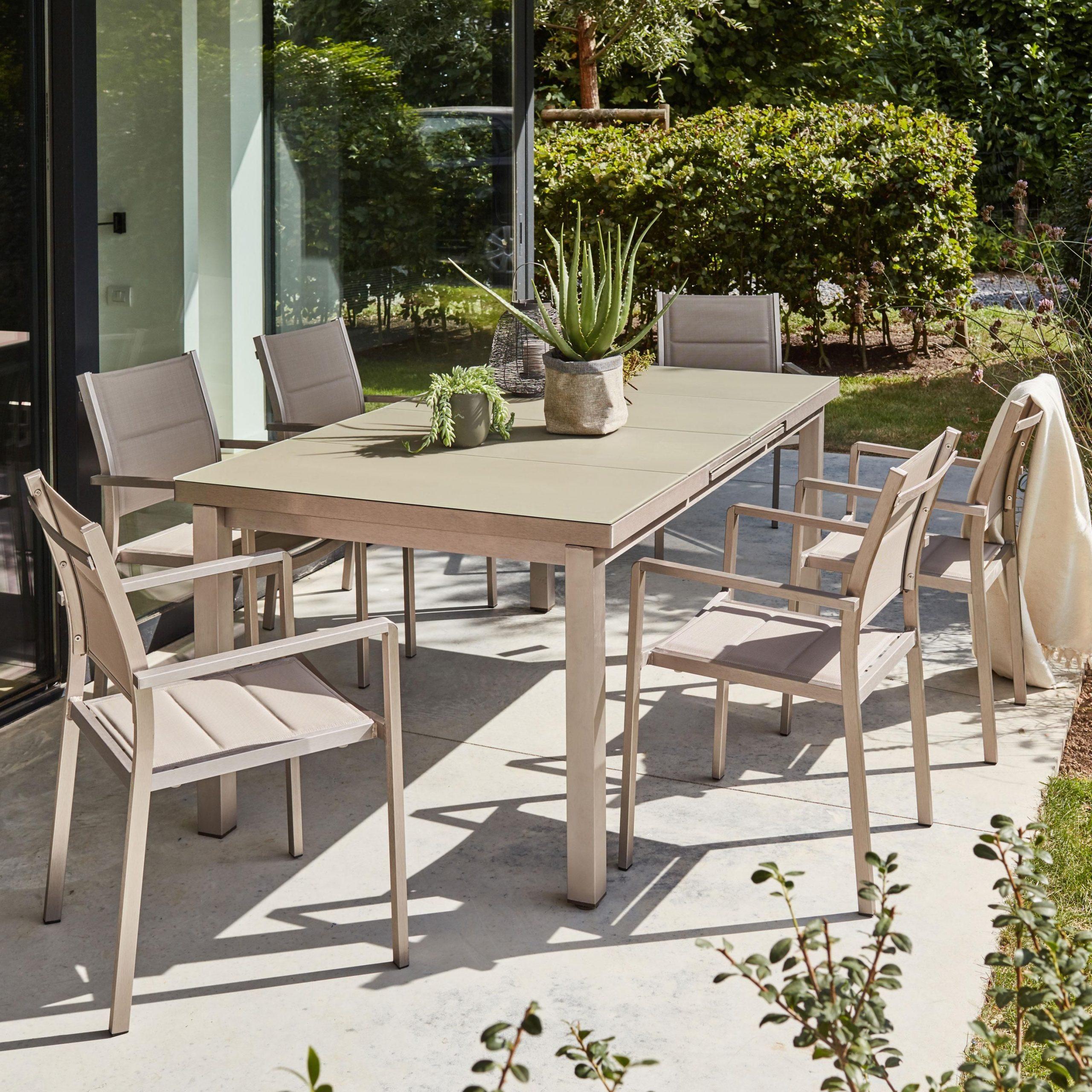 Table De Jardin De Repas Niagara Rectangulaire Marron 10 ... pour Housse Table De Jardin Leroy Merlin