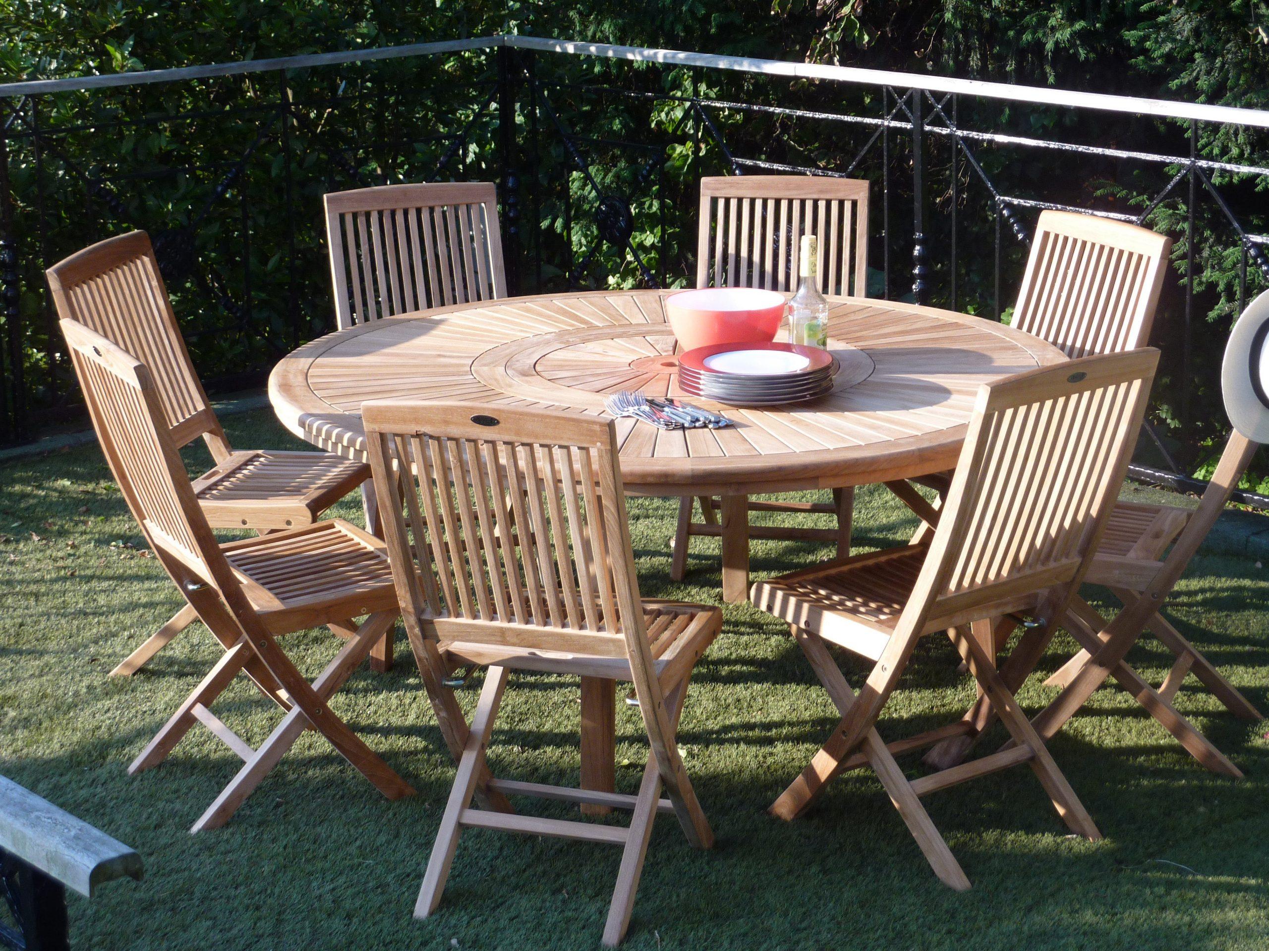 Table De Jardin De Repas Orion Ronde Naturel 8 Personnes avec Tables De Jardin Rondes