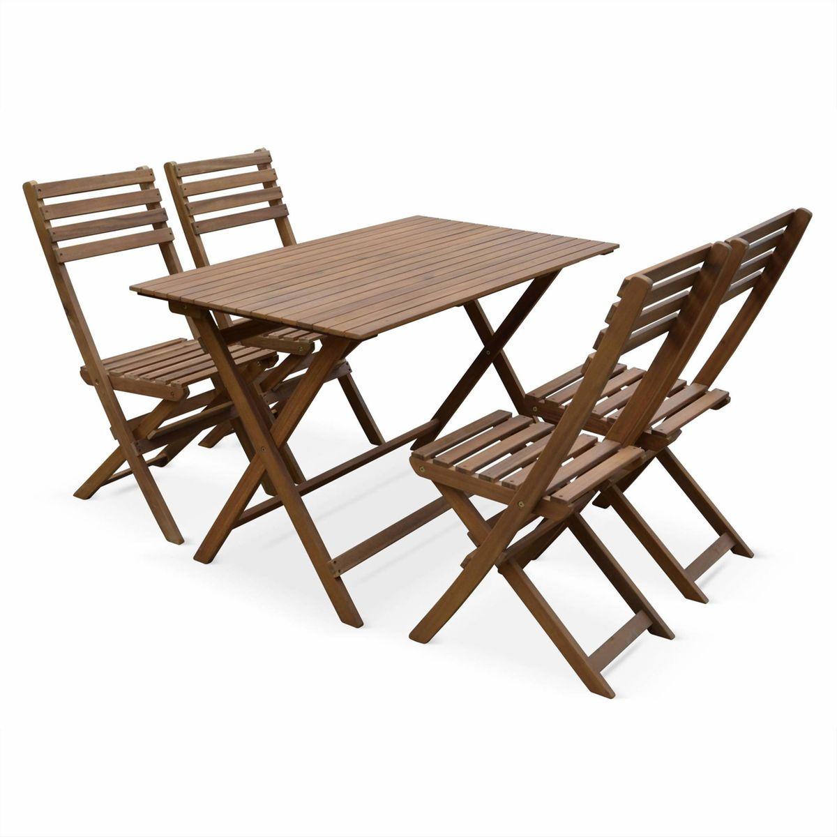 Table De Jardin En Bois 120X70Cm - Madrid - Table Bistrot ... à Table De Jardin En Bois Pliante