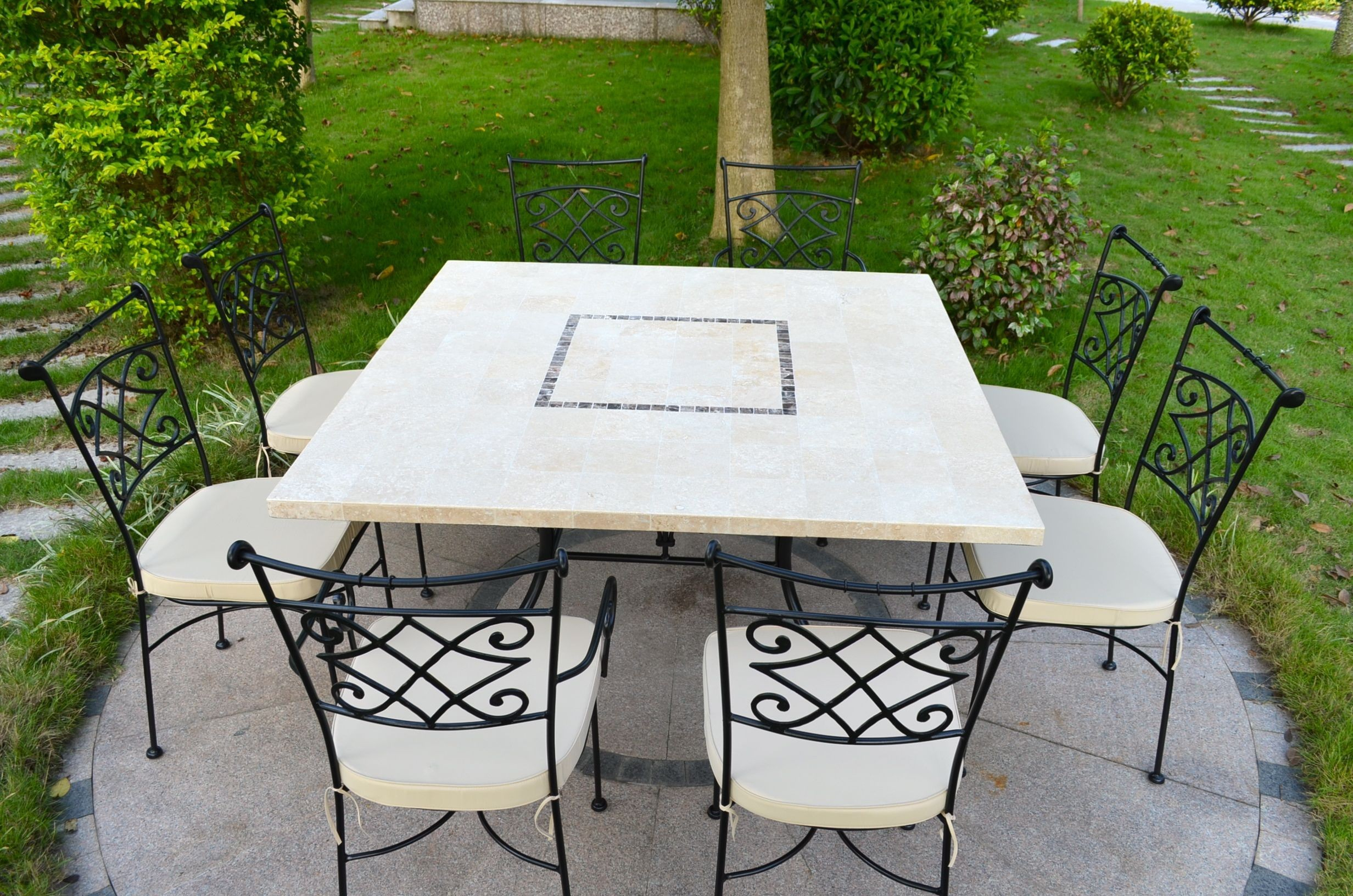 Table De Jardin En Pierre Mosaïque De Travertin Carrée 140 Capri encequiconcerne Table Jardin Marbre Fer Forgé