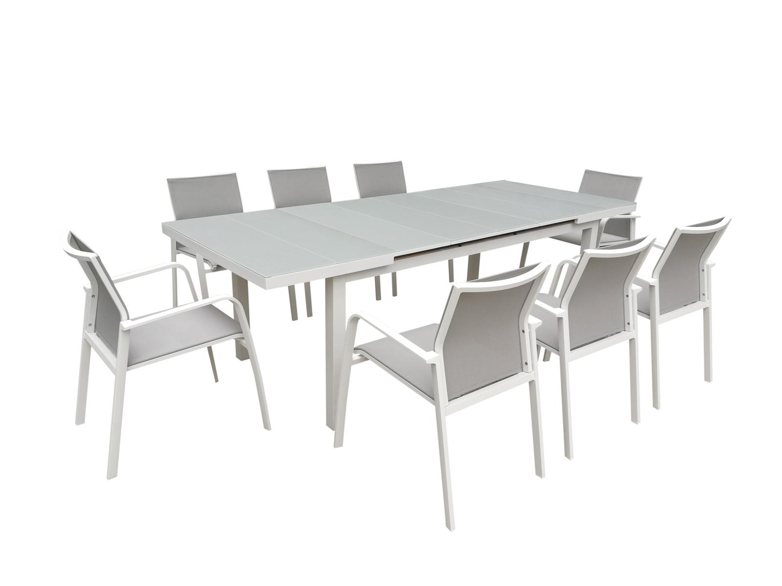 Table De Jardin Extensible Nice 180/240Cm En Aluminium Blanc Gris Et  Plateau Verre Blanc Gris encequiconcerne Table De Jardin Extensible