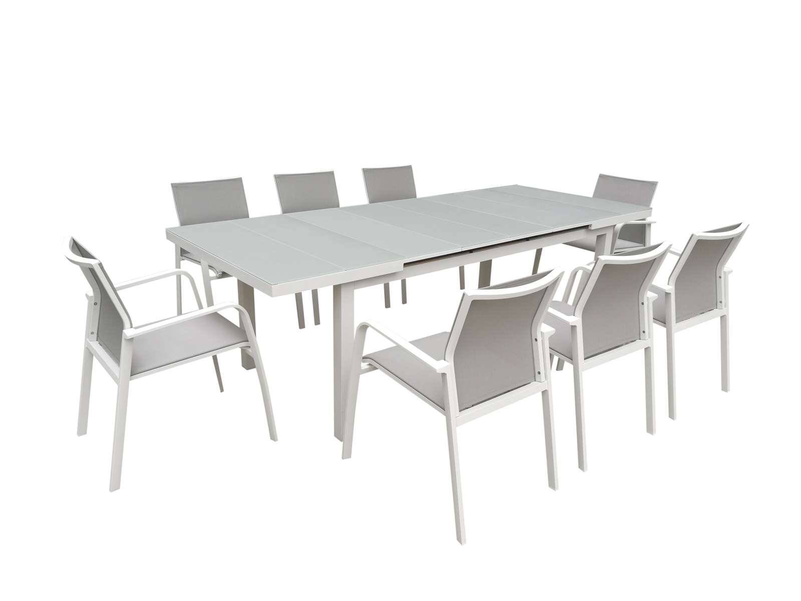 Table De Jardin Extensible Nice 180/240Cm En Aluminium Blanc Gris Et  Plateau Verre Blanc Gris tout Table De Jardin Grise
