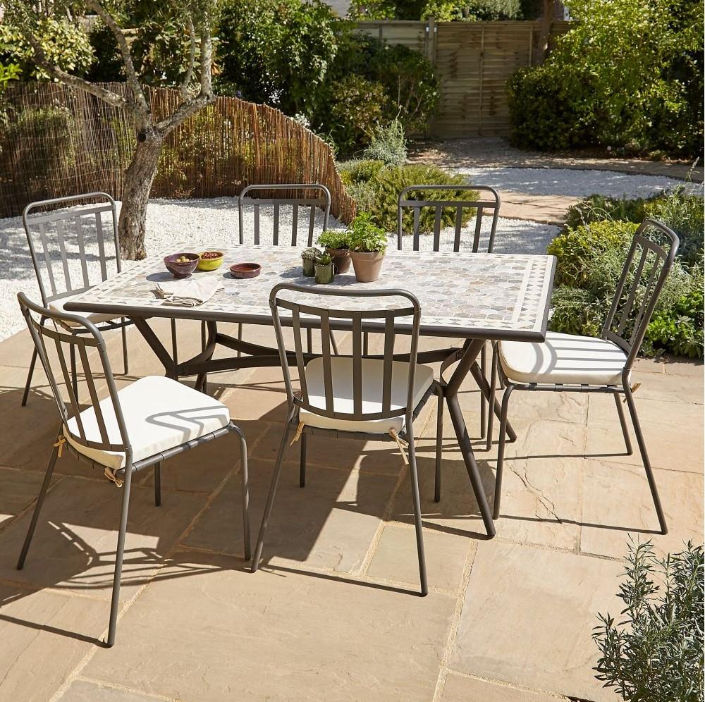 Table De Jardin Métal Et Marbre Sofia Blooma - Table De ... pour Fauteuil De Jardin Castorama