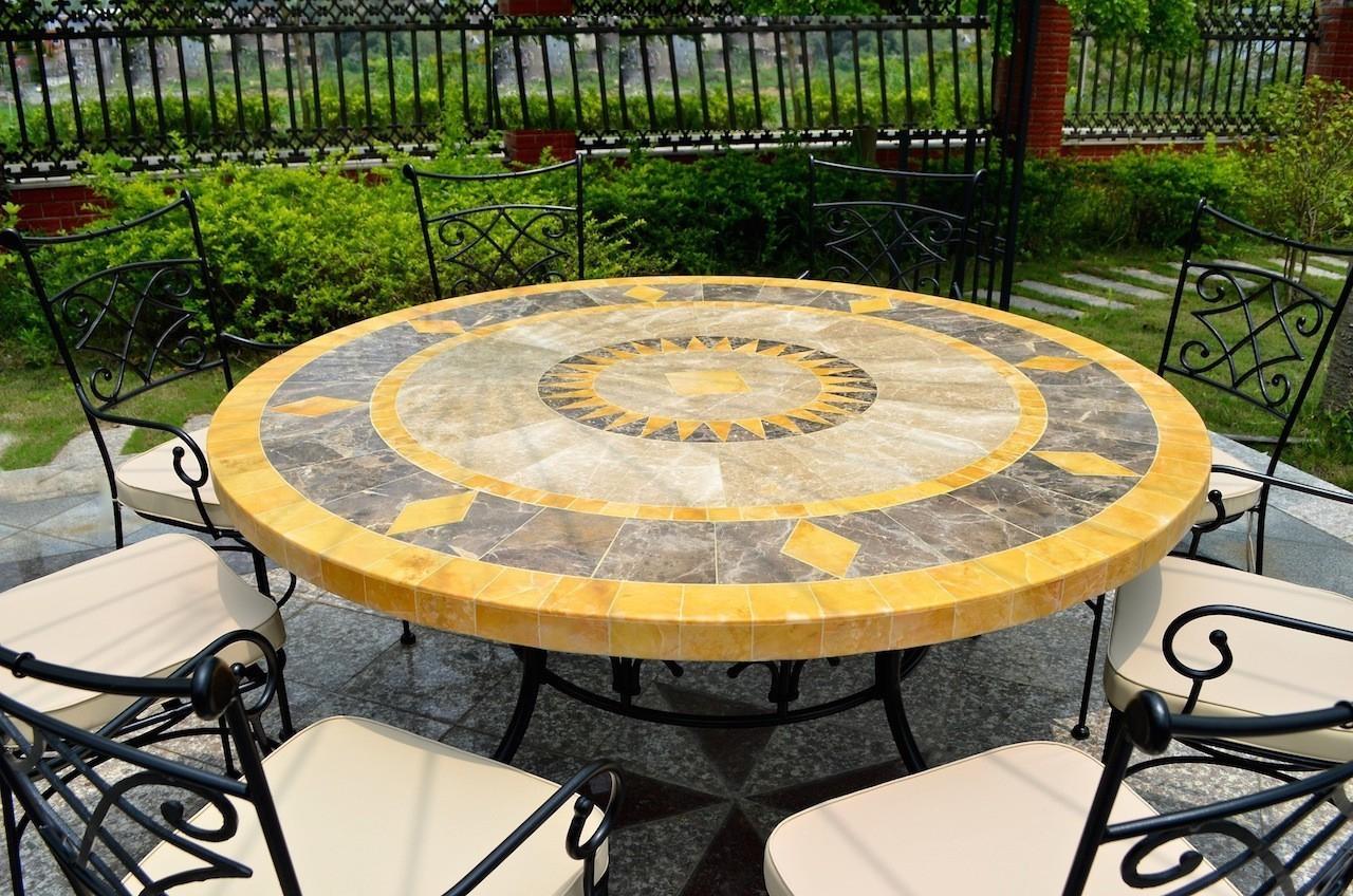 Table De Jardin Mosaïque Ronde De Marbre 125-160 Floride serapportantà Tables De Jardin Rondes