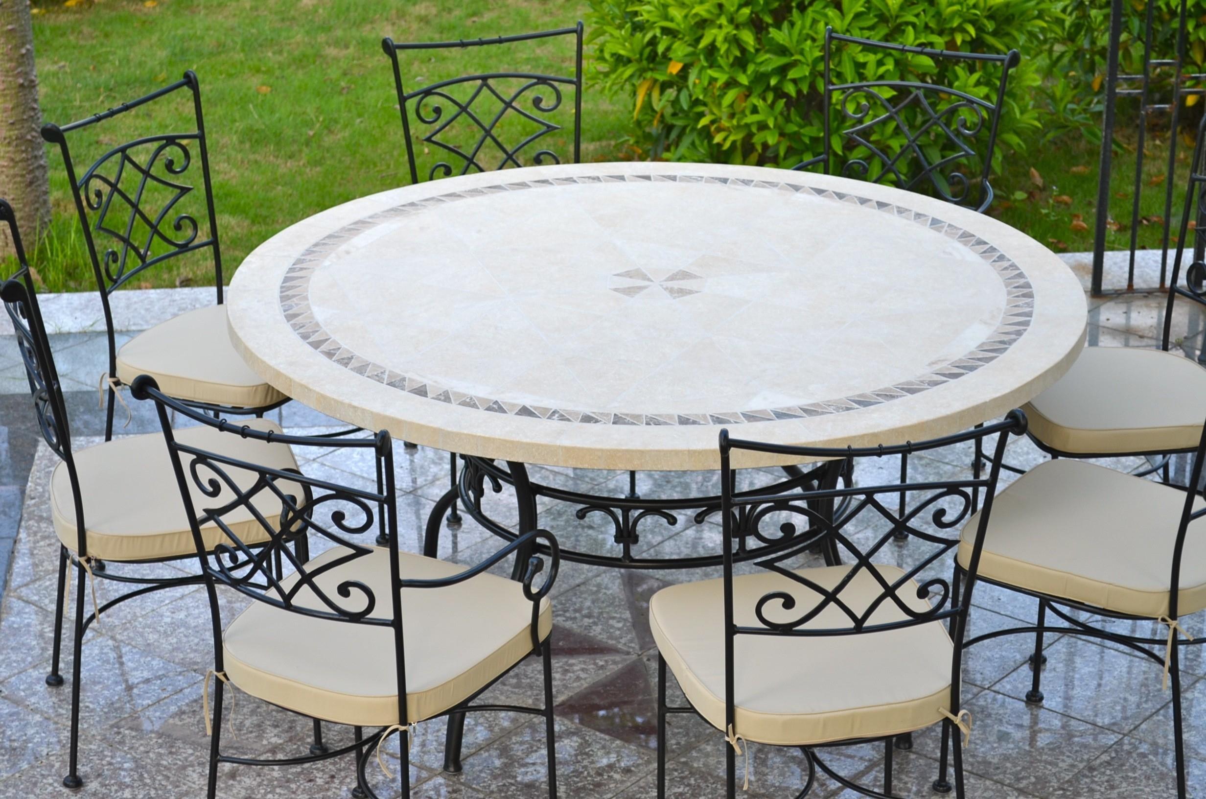 Table De Jardin Mosaïque Ronde Pierre Marbre 160-125 Imhotep avec Table Jardin Marbre Fer Forgé
