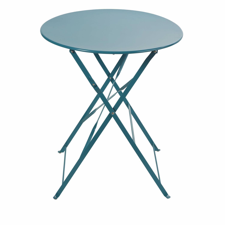 Table De Jardin Pliante En Métal Bleu Canard 2 Personnes D58 ... serapportantà Table De Jardin Pliante