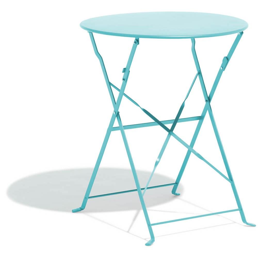 Table De Jardin Ronde Pliante Rio 2 Personnes Métal Bleu encequiconcerne Table Jardin Gifi