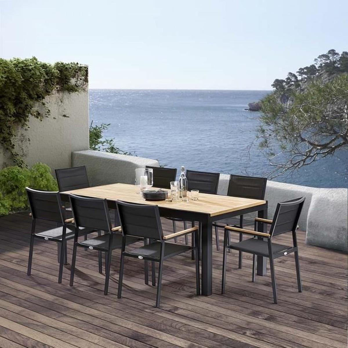 Table Et Chaises De Jardin Moderne Bali Noir - Achat / Vente ... dedans Table Et Chaise De Jardin En Solde