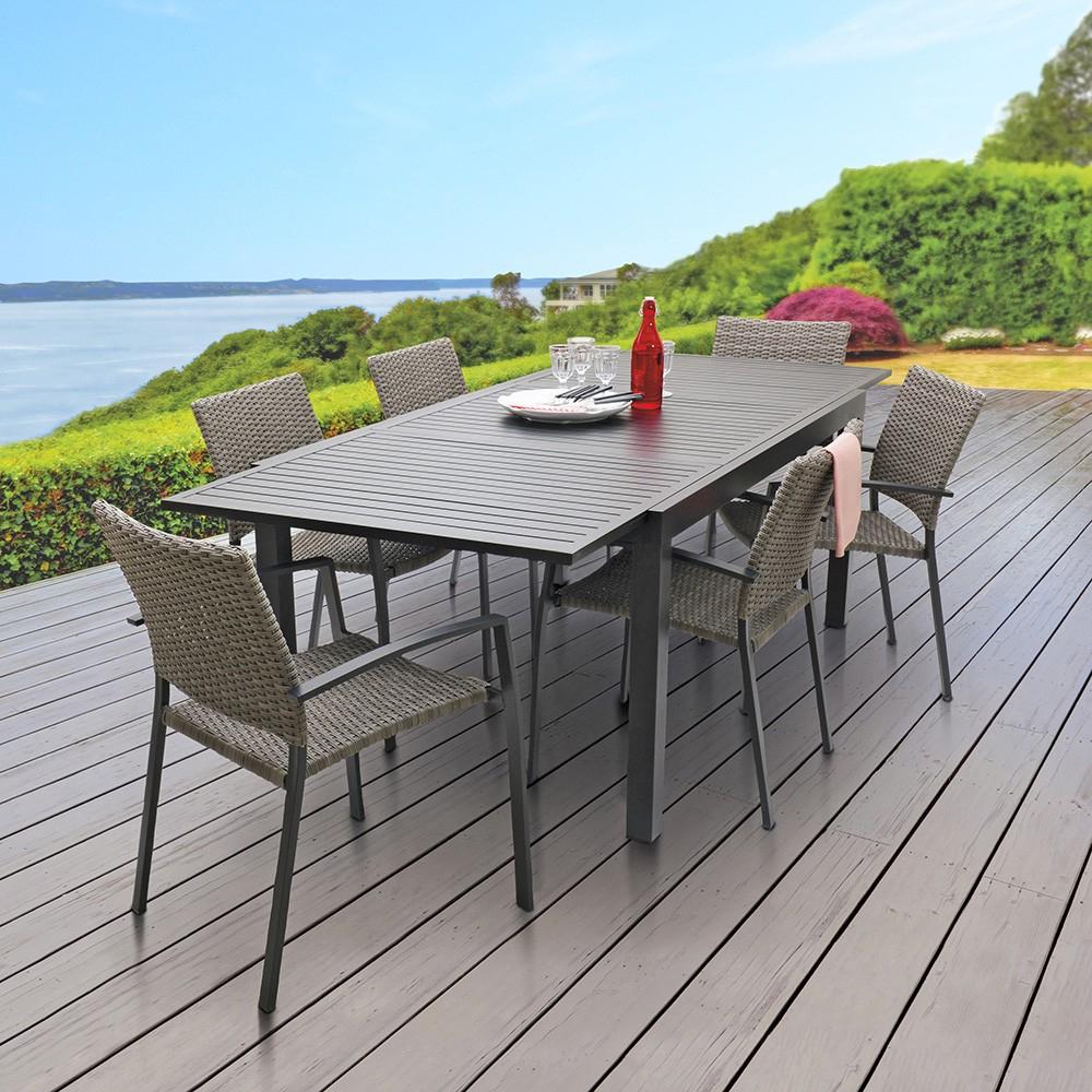 Table Extensible Nikitha Aluminium encequiconcerne Table De Jardin Bricorama