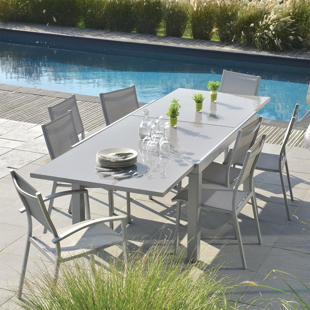 Table Extensible Rectangulaire Memphis encequiconcerne Salon De Jardin Bricorama
