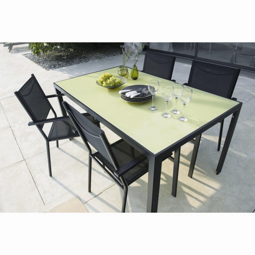 Table Extérieur Rosario Noir Et Vert Bambou avec Table De Jardin Bricorama