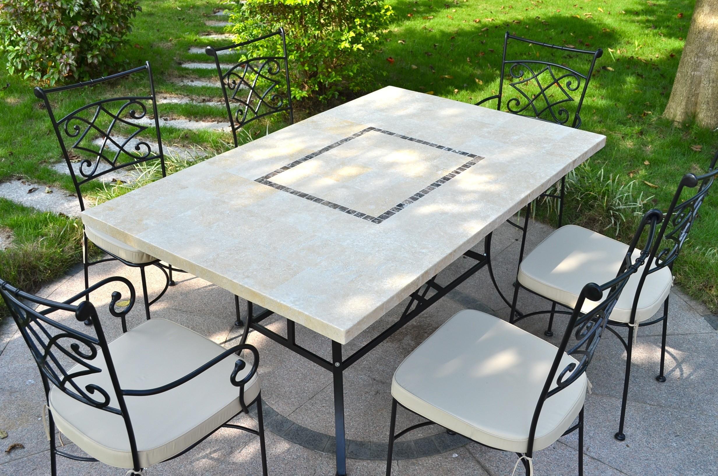 Table Jardin Pierre Naturelle 160-200 Mosaïque Marbre Monte Carlo avec Table Jardin Marbre Fer Forgé