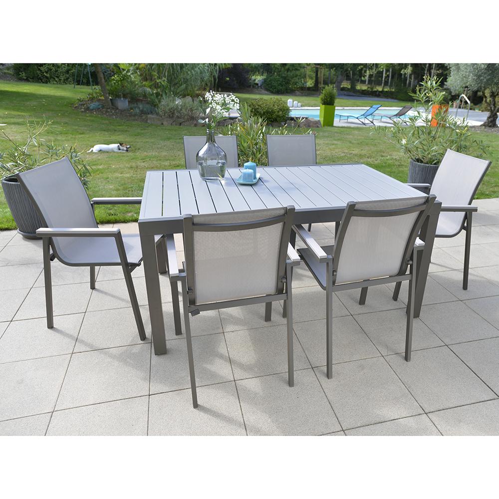 Table Montana En Aluminium L.149,5/259 X L.100 X H.75 Cm Anthracite concernant Salon De Jardin Bricorama