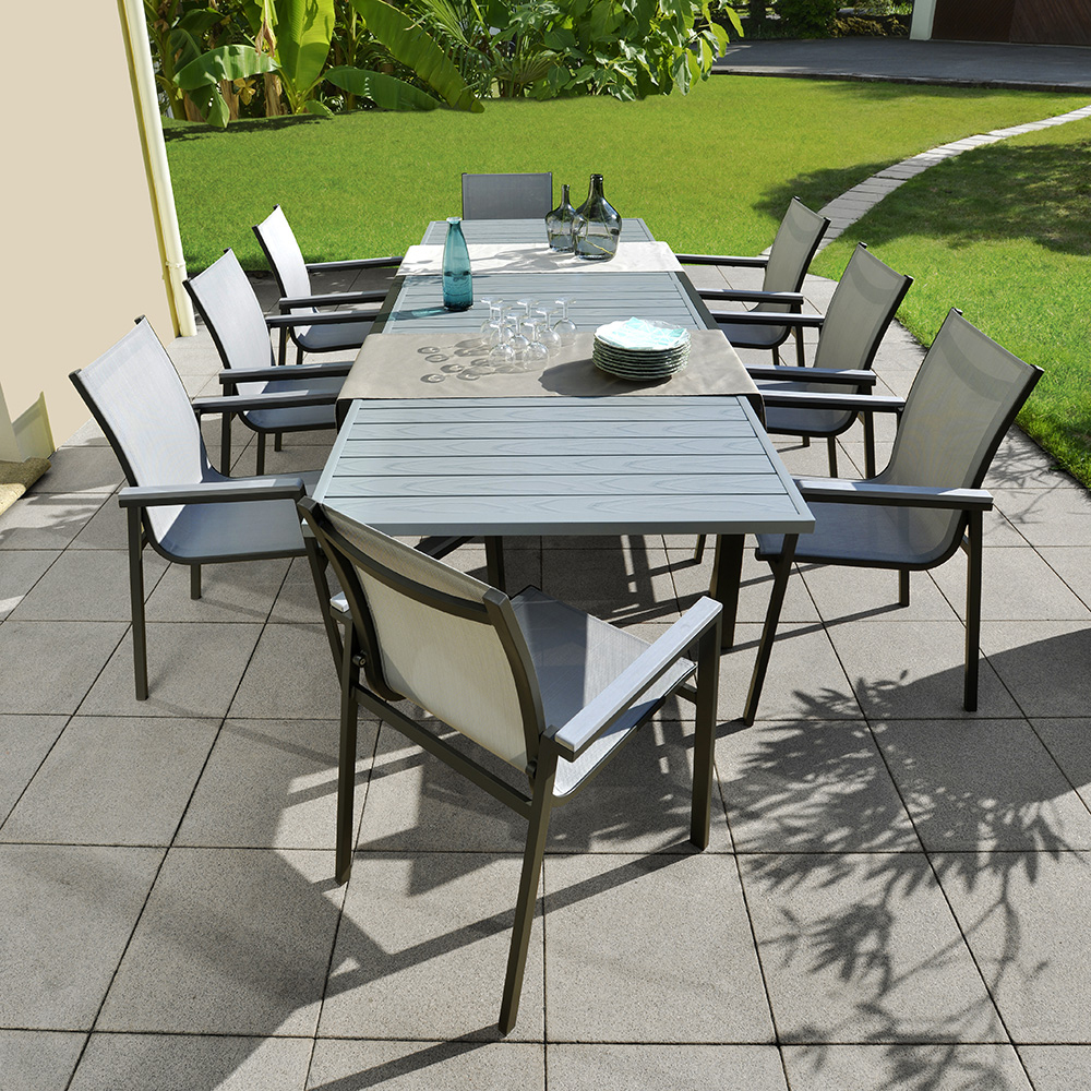 Table Montana En Aluminium L.149,5/259 X L.100 X H.75 Cm Anthracite serapportantà Table De Jardin Bricorama